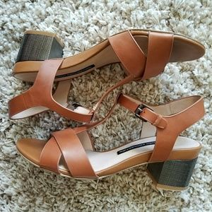 French Connection Tan Leather Block Heel Sandal